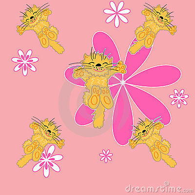 Cute floral and pet . seamless background