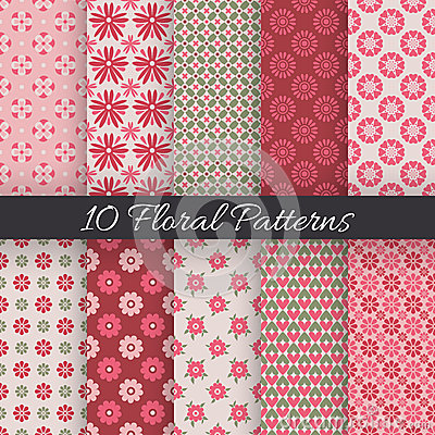 Free Cute Floral Seamless Patterns. Vector Illustration Stock Photos - 48236173