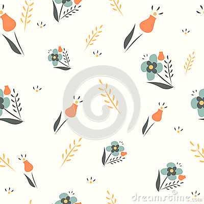 Free Cute Floral Spring Seamless Vector Background. Stock Photos - 40112953