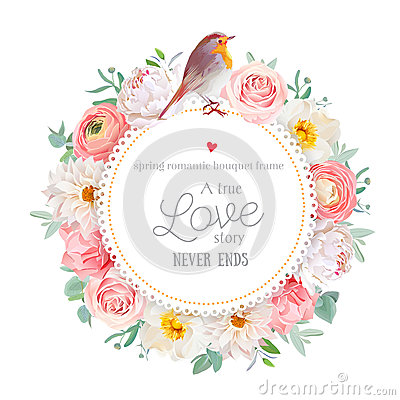 Free Cute Floral Vector Round Card Royalty Free Stock Photo - 81320645