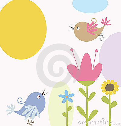 Free Cute Flowers And Bird Stock Images - 16648864