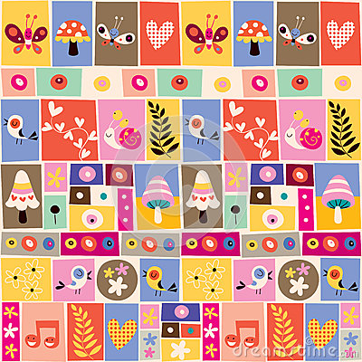 Free Cute Flowers, Birds, Mushrooms & Snails Collage Pattern Royalty Free Stock Photography - 30666207