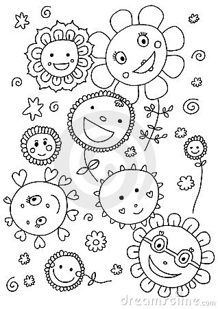 Cute Flowers Coloring Page