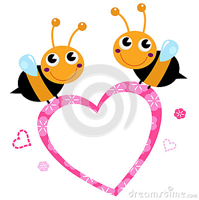 Cute flying Bees with pink love Heart