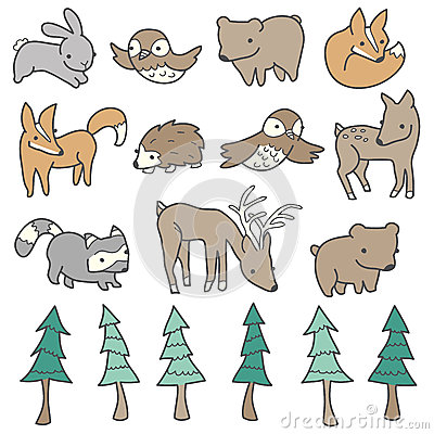 Free Cute Forest Animals Stock Image - 30787421