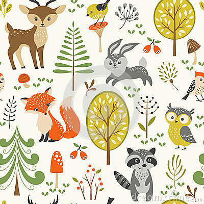 Free Cute Forest Pattern Stock Photo - 55353450