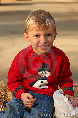 Cute four year old boy in Christmas sweater