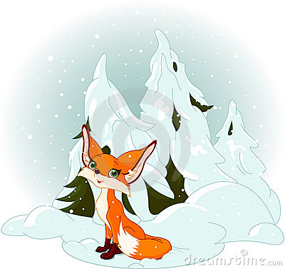 Cute fox against a snowy forest