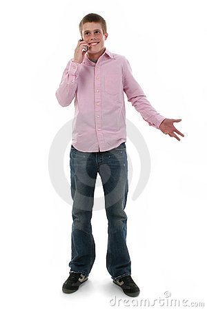 Cute Freckled Male Teen on Phone