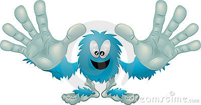 Cute friendly furry blue monster