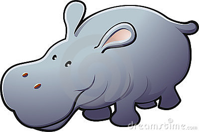 Cute Friendly Hippo Vector