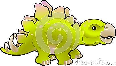 Cute friendly stegosaurus vector