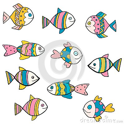 Free Cute, Fun And Colorful Vector Fish Drawings Royalty Free Stock Image - 107672916