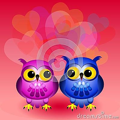 Cartoon owls in love