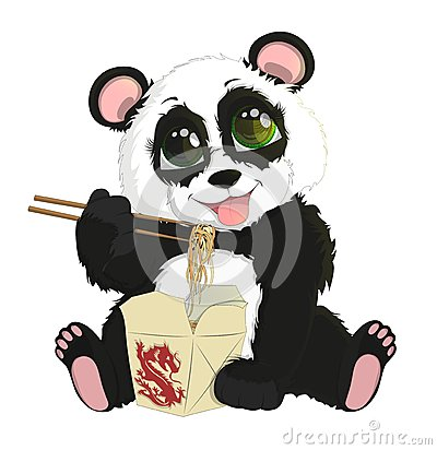 Free Cute Funny Baby Panda Eating Chinese Noodles. White Background Stock Photography - 80944012