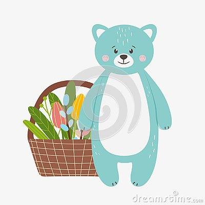 Cute funny blue bear with a basket of flowers Stock Photo