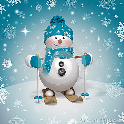 Free Cute Funny Christmas Skiing Snowman Royalty Free Stock Photos - 33024458