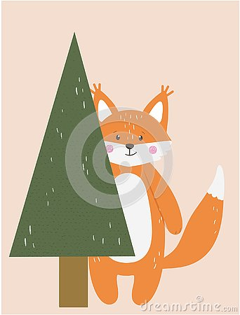 Cute funny fox animal with spruce christmas tree Stock Photo