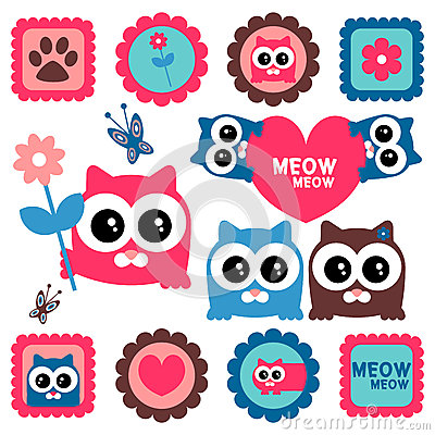 Cute funny kittens set