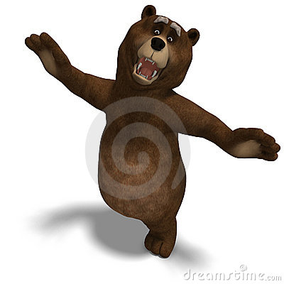 Cute and funny toon bear. 3D rendering with
