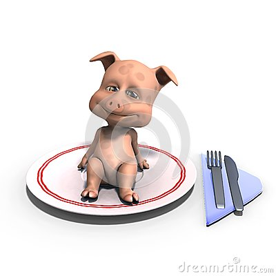 Cute and funny toon pig served on a dish as a