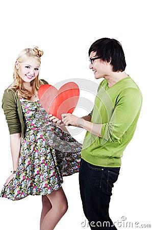 Cute geeky asian caucasian couple
