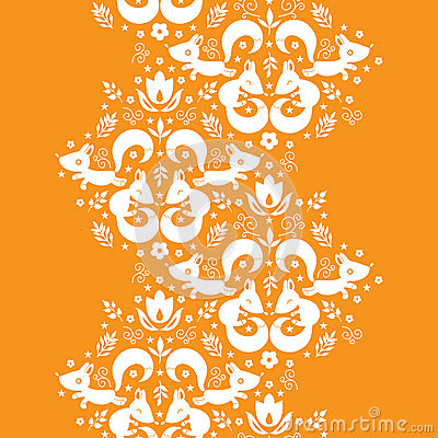 Cute geometrical foxes vertical border seamless