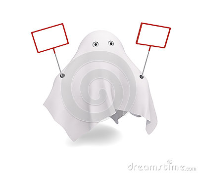 A cute ghost with couple of signs