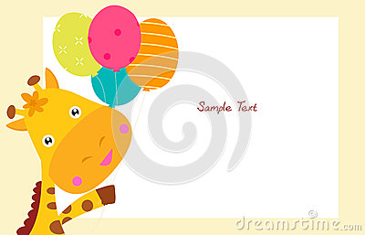 Cute giraffe and balloon