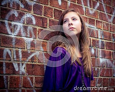 Cute Girl Against Wall