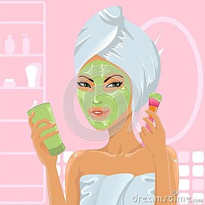 Cute girl applying facial mask