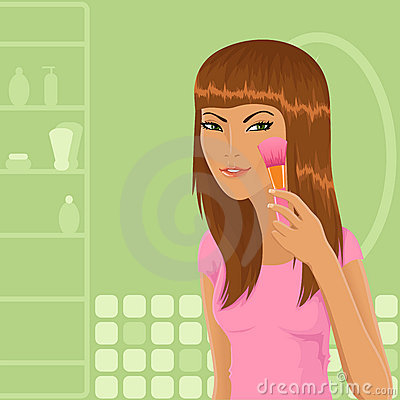 Cute girl applying make-up
