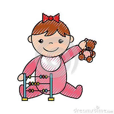 Cute girl baby with toys avatar character Vector Illustration