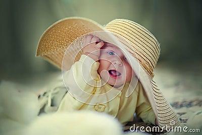 Cute girl in big hat