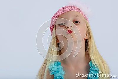 Cute girl blowing kiss