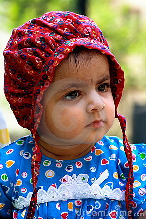 Cute girl in bonnet