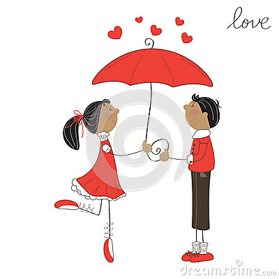 Cute girl and boy under umbrella