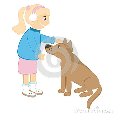 Cute girl caress the dog