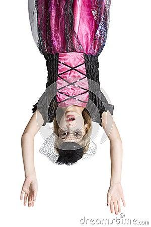 Cute girl in carnival fancy dress on the eve