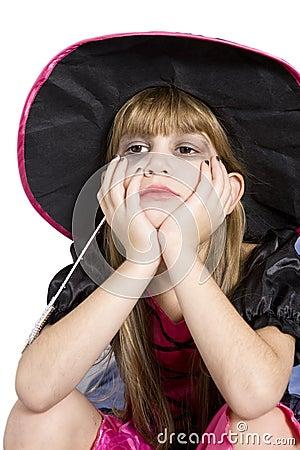 Cute girl in carnival fancy dress on the eve of  H