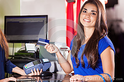 Royalty Free Stock Photos: Cute girl at a cash register
