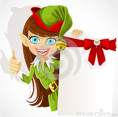 Cute girl the Christmas elf with a banner