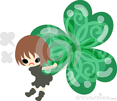 Cute girl and clover Vector Illustration