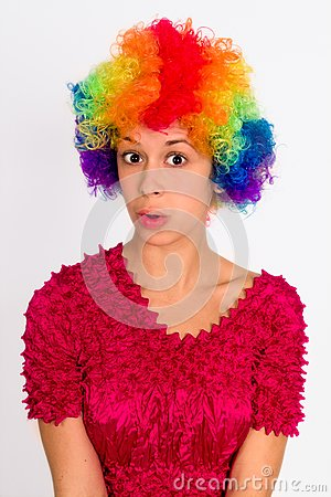 Cute Girl Dressed in Clown Wig