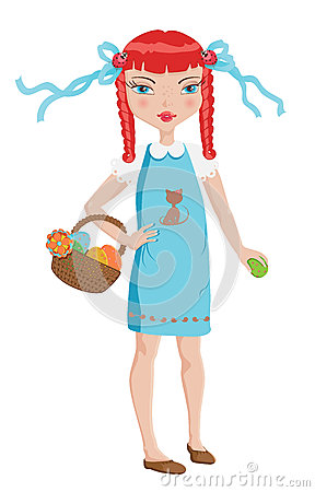Cute girl on Easter egg hunt