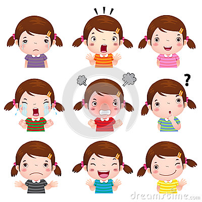 Free Cute Girl Faces Showing Different Emotions Stock Photo - 60785380