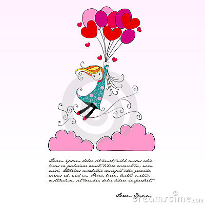 Cute girl flying away on heartshaped balloons