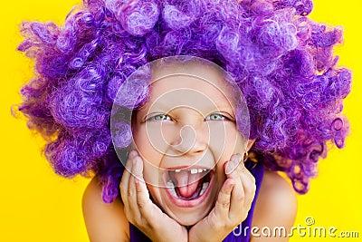 Cute girl in funny wig