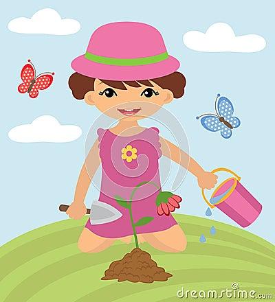 Cute girl gardening