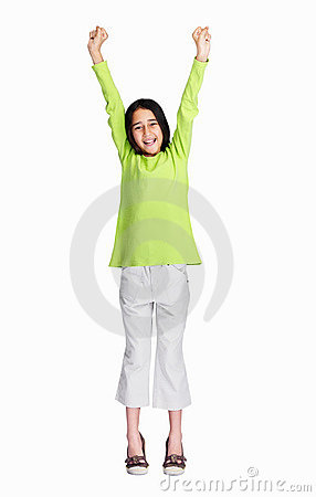 Cute girl with hands raised isolated on white